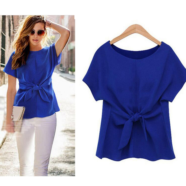2020 Women Summer Short Sleeve Bow Knot Chiffon Blouse Shirt Ladies Casual Top Tee Shirt 1