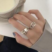 XIYANIKE 925 ayar gümüş Retro Punk Hollow çapraz yuvarlak yüzük sıkıntılı benzersiz tasarım HipHop moda işaret parmağı toptan
