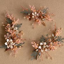 3 sztuk zestaw ślubne Hairpiece wianek dla panny młodej ślubne na włosy sztuka ozdoba ślubna do włosów ślubne nakrycie głowy ślubne akcesoria do włosów tanie tanio Queenco Miedzi Kryształ Hairbands Kobiety TRENDY asw5436 Star Handmade item Opal crystal Multilayer flower 14x5cm 10x5cm