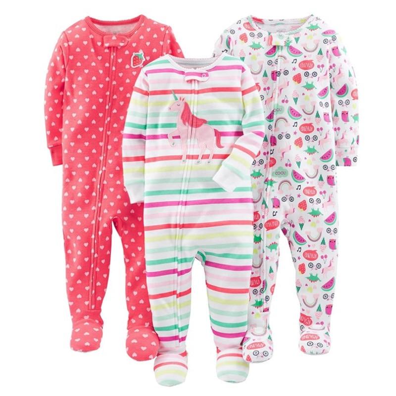 Warm summer cotton jumpsuit romper thread tight bodysuit pajamas boys and girls baby zipper bag feet robe 2