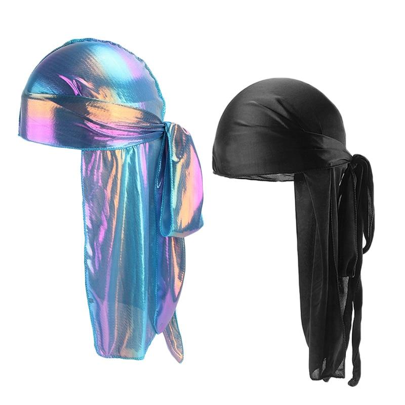 New Men Women Silk Laser Satin Bandana Hat Durag Doo Rag Tail Headwrap Headwear Hair Accessories in Women 39 s Hair Accessories from Apparel Accessories