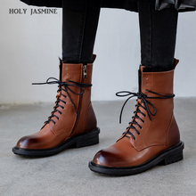 2020 Lace-up Women Boots Autumn Winter Plush Martin Boots Shoes High Heel Zip Round Toe New Genuine Leather Mid-calf Black Boots mycolen brand quality genuine leather winter boots comfortable black men shoes men casual handmade round toe zip wear boots