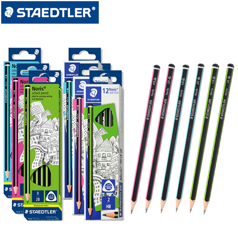 12Pcs Germany STAEDTLER 118 Norris Triangle Pencil HB / 2B Anti-broken Core Easy Compression Safety Student Writing Pencil
