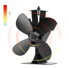 4 лопасти вентилятор для печи, работающий от тепловой энергии бревна деревянная горелка для экофана тихий черный Домашний Вентилятор для камина эффективное распределение тепла