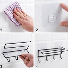 4*hook Iron Art Towel Rack Kitchen Paper Hanging Household Storage Towels And Utensils New x