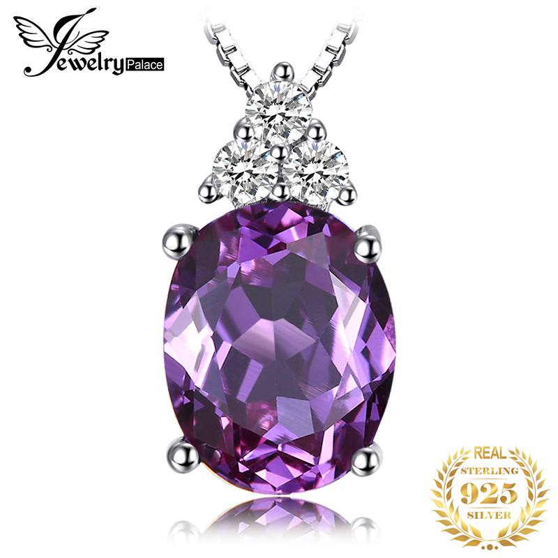 Created Alexandrite Sapphire Pendant Necklace 925 Sterling Silver Gemstones Choker Statement Necklace Women Without Chain in Necklaces from Jewelry Accessories