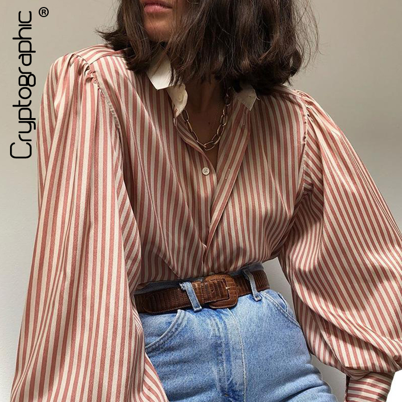 Cryptographic Striped Bubble Long Sleeve Women Tops Blouses 2020 Spring Button Up Shirts Ladies Tops Blusas Elegant Streetwear