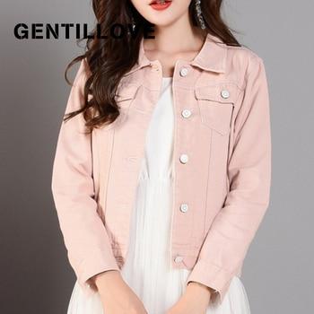 Korean Style Female Denim Slim Basic Jacket Autumn 2019 Womens Casual Denim Jacket Outwear Ladies Bomber Streetwear Black Coat