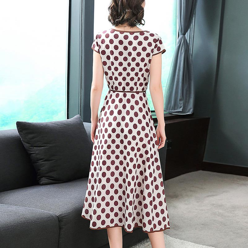 Women Dresses Fashion Casual 2019 Summer Short Sleeve Dress Dot Printing A Line Dress Beach O Neck Office Ladies Dress With Belt in Dresses from Women 39 s Clothing