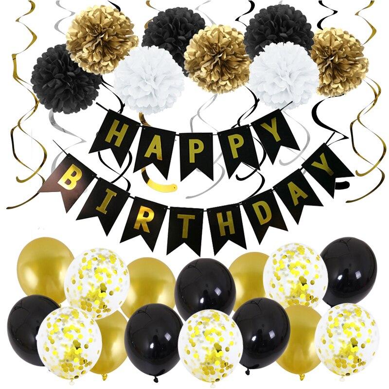 33 шт./компл. черного и золотого цвета баннер латексный воздушный шар