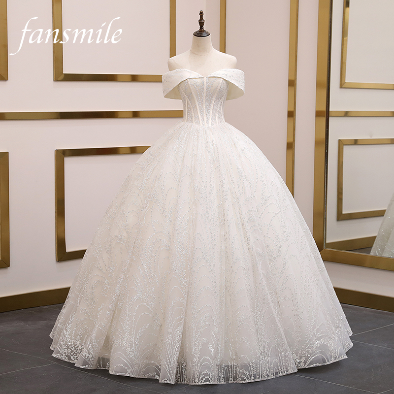 Fansmile New High Quality Vestido De Noiva Lace Wedding Dresses 2020 Plus Size Customized Wedding Gowns Bridal Dress FSM-080F