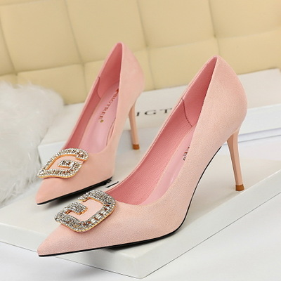 Sexy Party Shoes Stiletto Suede Shallow Mouth Pointed High Heel Metal Rhinestone Buckle Single Shoes