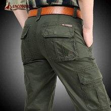 Pantalons Cargo pour hommes, pantalon décontracté en coton, salopettes multi-poches, pantalon militaire tactique, vêtement d'extérieur droit, grande taille 44