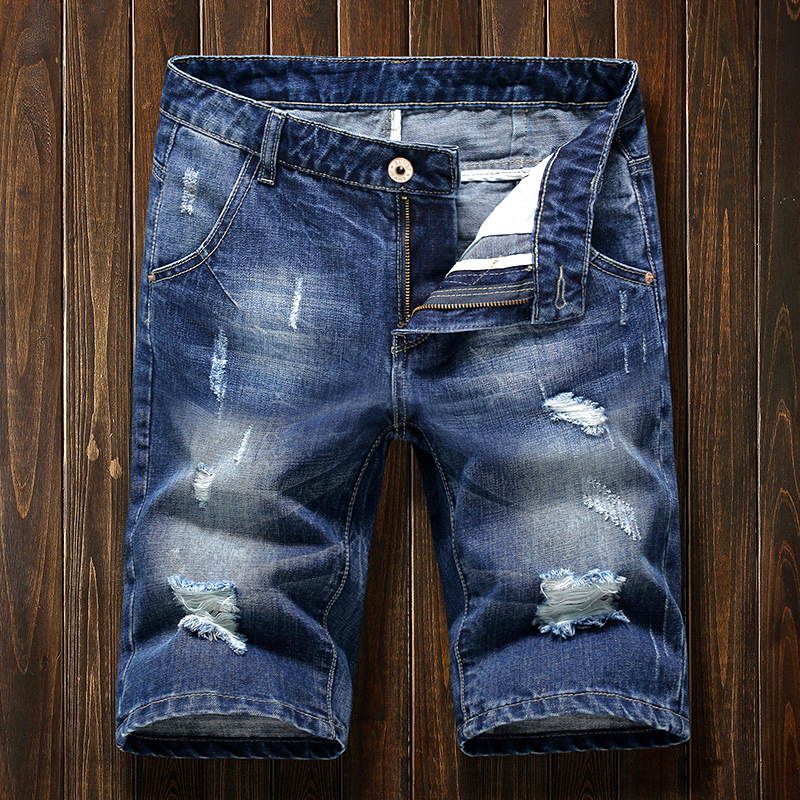 Summer With Holes Denim Shorts Men's Loose-Fit Thin Shorts Japanese-style Beggar Trend Large Size 5 Shorts Breeches