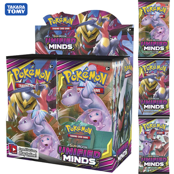 324pcs/box Pokemon card TCG: Sun & Moon Unified Minds Trading Card Game A Box of 36 Bags Collection High-quality cards цена 2017