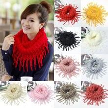 Полые кисточками вязаная шерстяная шапка шарф женских длинных