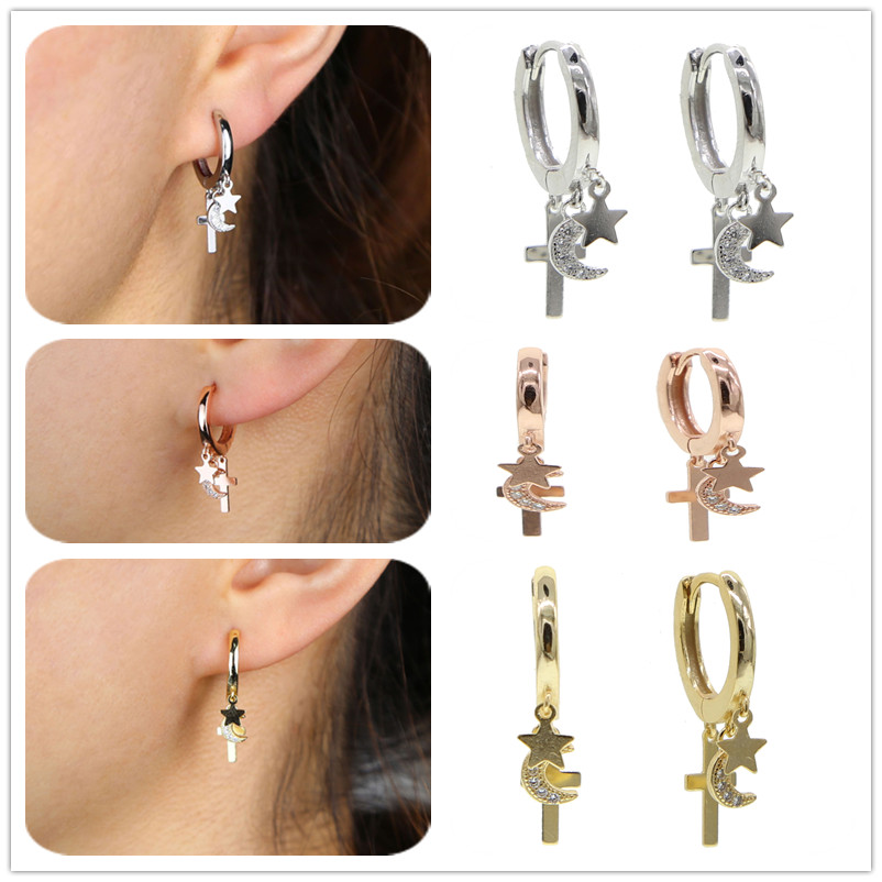 2020 New Punk Style Star Moon Shape 925 Sterling Silver For Women Cross Earrings Gothic Girl Wedding Jewelry Gift