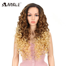 Noble 360 Lace Frontal Wig Pre Plucked With Baby Hair 26 Inch Curly Synthetic Wigs Blonde Wig Lace Frontal Wigs For Black Woman(China)