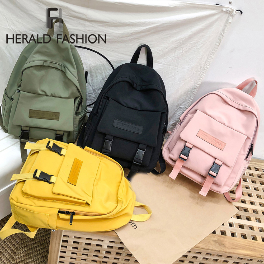 New Solid Color Women Backpack Retro Fashion Waterproof Nylon Backpack School Bags For Teenagers Casual Travel Female Backpacks