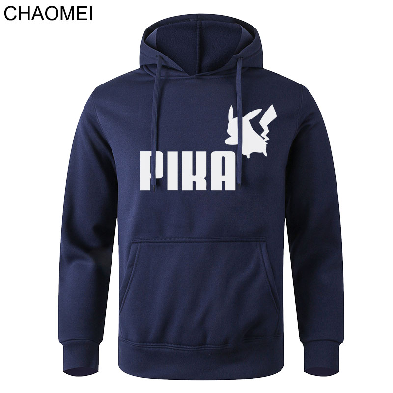 2020 Autumn Pika Hoodies Japanese Anime Pokemon Men Pullover Pikachu Boy Sweatshirt Fleece Warm Casual Streetwear Pullover C162