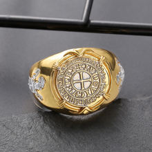 Винтаж 925 серебро Крестоносцев Кольцо с золотым покрытием Серебряная