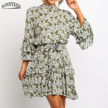 RONNYKISE Holiday Style Printed Floral Dresses Womens Fashion High Waist Three-quarter Sleeve Chiffon Dress Summer Beach