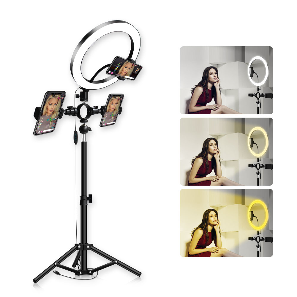 RL-10 Dimmable LED Ring Light 26cm USB Makeup Ring Beauty Light Lamp With Phone Holder Tripod For Selfie Camera Youtube Shoot