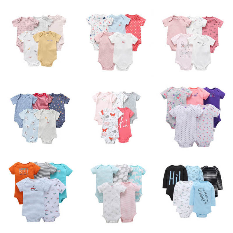 5PCS/LOT Newborn Baby Rompers Unisex High Quality 100% Cotton Short Sleeves 0-24M Infant Baby Boys Girls Jumpsuit Baby Pajamas