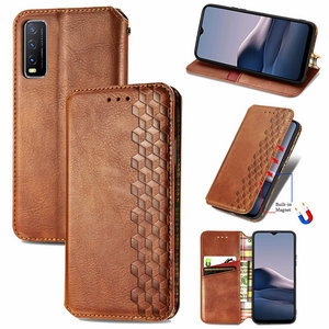 Image 1 - Leather Texture Magnet Book Shell for Vivo Y20 2020 Luxury Case Vivo Y20S Y20i Y 20 S 20S Y11S Y12S Flip Cover Funda Shockproof
