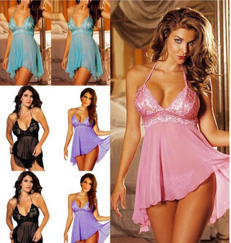 Top Fashion Women'S Sexy Lace Lingerie Strap Pajamas M L XL XXL XXXL Blue Black Purple Pink Sleepwear