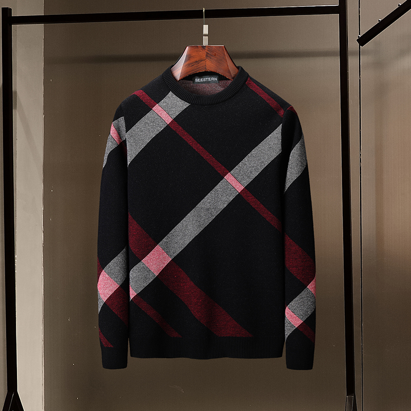 Seestern Brand Men's Sweater New Plaid Stripe Fashion Autumn Winter Color Matching Knitted Pullover European American Style Tops
