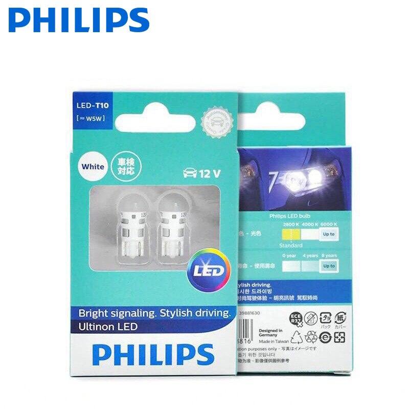 Philips t10 led 12v w5w 6000k 11961ulwx2 sinalização brilhante condução elegante ultinon led luz de leitura branca luz de sinal