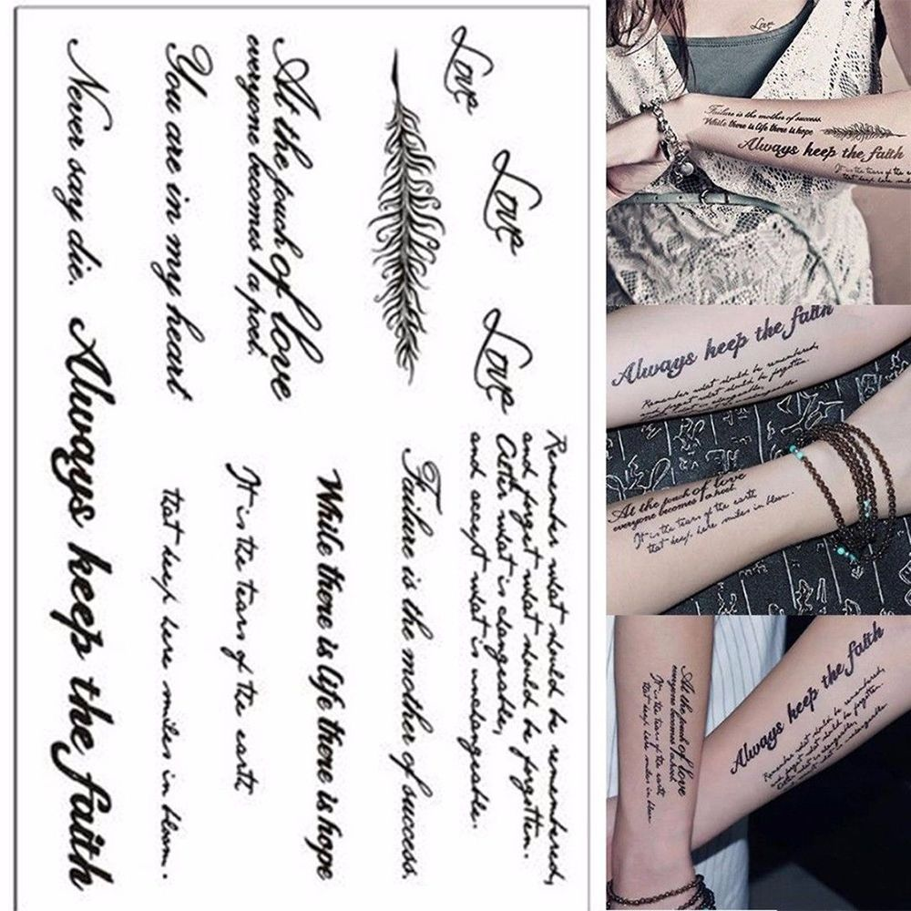 Waterproof Temporary English Word Sexy Romantic Tattoo Stickers Black Letters Feather Body Art Tattoos Dropshipping