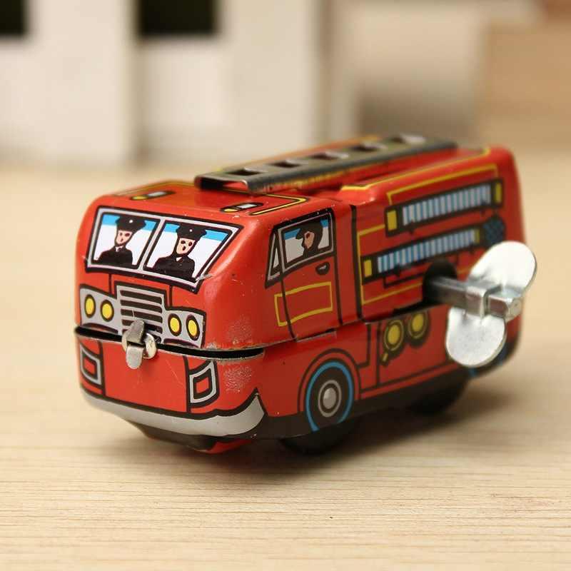 Dzieci cyny skończyć mechaniczne zabawki Retro strażak silnik ciężarówka Vintage zabawki dla dzieci chłopcy dziewczęta edukacyjne
