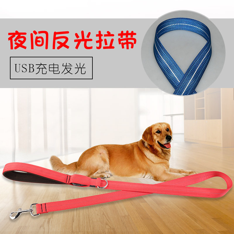 Pet Traction Rope LED Shining Anti-Lost Car Accident Dog Rope Night Reflective USB Charging Sling