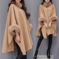 Elegant Women Winter Coats Batwing Fluffy Sleeve Cape Jacket Lady Woolen Overcoat Cape Fox Fur Collar Warm Ponchos Feminino