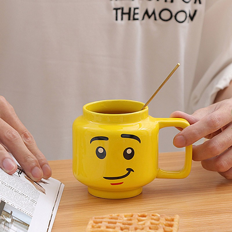 250ml Yellow Smiley Ceramic Mug Smile Expression Cartoon Coffee Milk Tea Cup Cute Water Cup Christmas Children Gift Cup