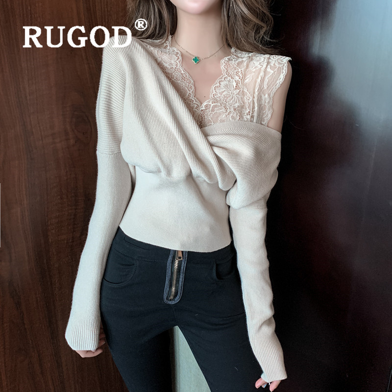 RUGOD 2020 New Spring Women's Sweater Tops Lace Patchwork Sexy Knitwear V Neck Solid Slim Pullovers Fashion Elegant Female Pull