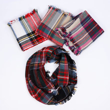 Hot Plaid Infinity Scarf Autumn Women Fashion Winter Scarf 2019 Casual knitted Scarf Soft Tassel For Men Cashmere Soft Warm