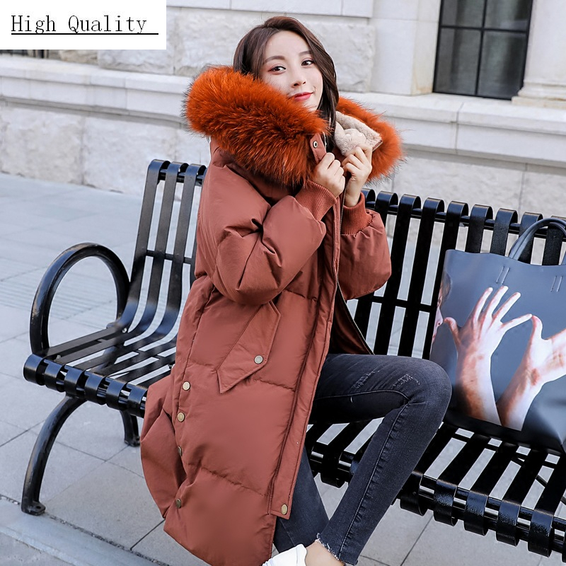 Winter Coat Female Long Warm Duck Down Jacket Women Raccoon Fur Hooded Clothes 2020 Thick Down Coat Overcoat Hiver LW1726