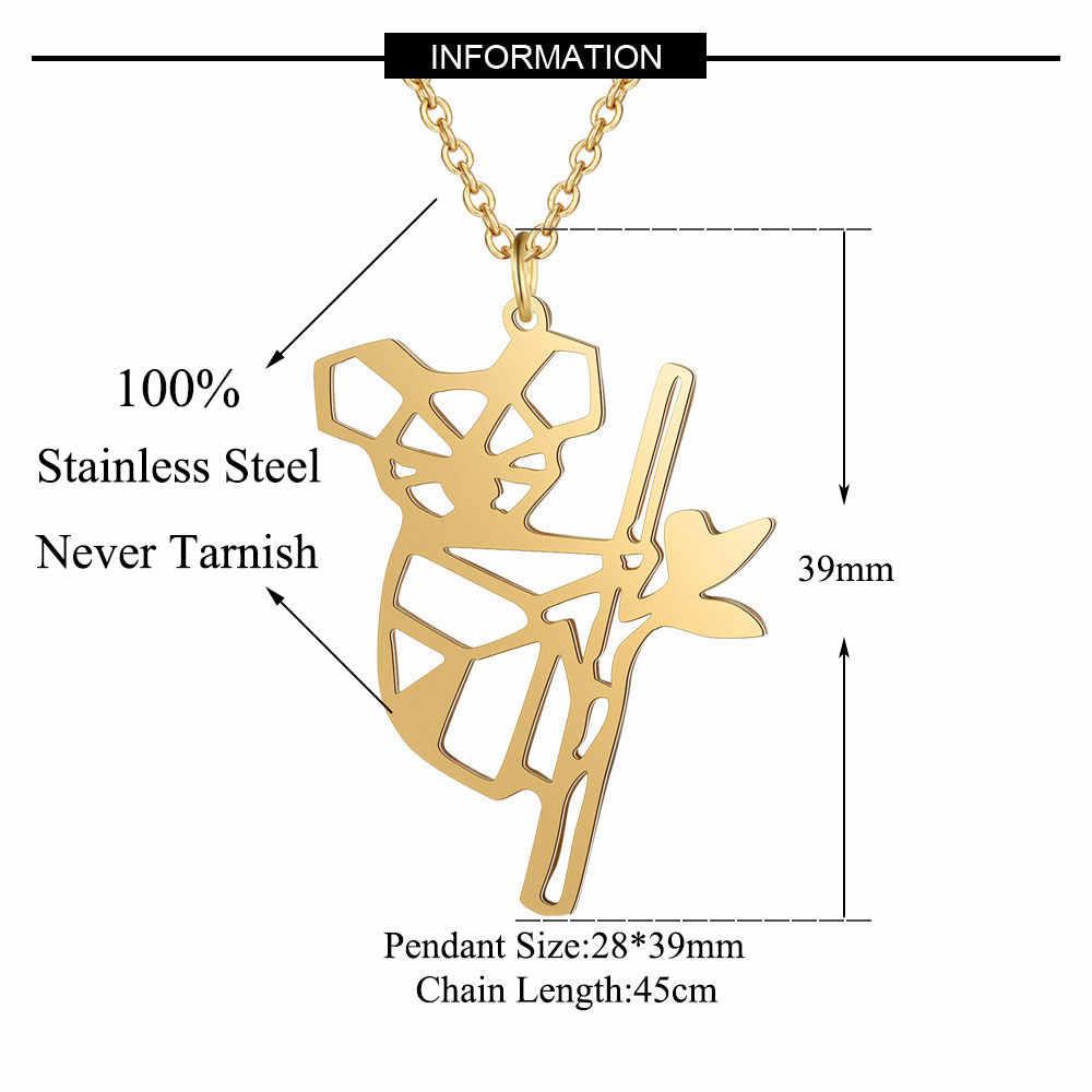 100% Stainless Steel Hewan Koala Bear Fashion Kalung untuk Wanita Desain Unik Liontin Kalung Pernikahan Pesta Kalung