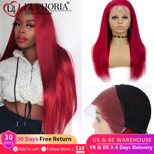 Burgundy Straight Lace Front Human Hair Wigs Red 99J Color Lace Wigs Brazilian Remy 13x4 4x4 Lace Closure Frontal Wigs Euphoria