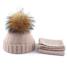 0-3 Age Baby Hat Scarf Set Winter Warm Soft Wool Knitted Hat Bonnet Toddler Crochet Beanie Natural Fur Pompom Hat Boy Girl Cap baby hats baby toddler kids boy girl knitted crochet rabbit ear beanie winter warm hat cap dropship ma30m30