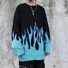 Suéter Harajuku Hip Hop para parejas, suéteres de fuego de llama de punto, trajes para hombre y mujer, suéter holgado, Tops de moda # AF 2021