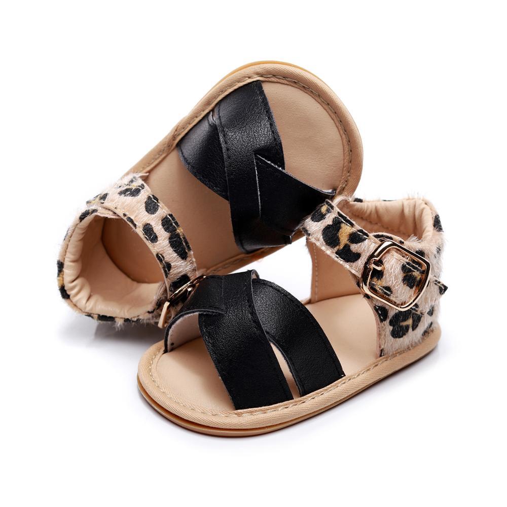 Baby Girl Summer Shoes Velcro Sandals Toddler Infant Prewalkers Sandals Leopard Hard Sole Anti-slip Buckle Baby Sandals
