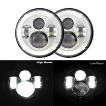 "2PCS 7"" Inch Round LED Headlights Kit High Low Beam for Land Rover Defender 90 110 for Lada Niva 4X4 Offroad Lamps Car Accessory(China)"