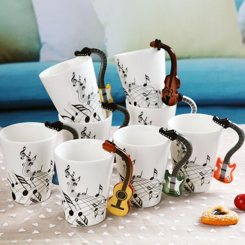 240ml/400ml Music Mug Creative Guitar Violin Style Ceramic Mug Coffee Tea Milk Stave Cups with Handle Novelty Gifts|Mugs|   - AliExpress