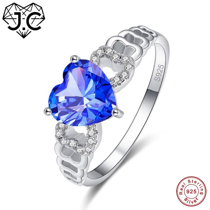 J.C Heart Cut Tanzanite & Mystic Rainbow 925 Sterling Silver Ring Size 6 7 8 9 Women Blue Wedding Fine Jewelry Gift