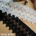 8 см Широкий винтажный Белый Черный Французский водорастворимый кружева выдалбливают вышитые цветы Лента отделка одежды DIY Швейные принадл...