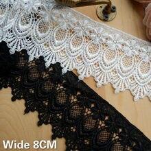 8cm de largura do vintage branco preto francês solúvel em água laço oco para fora bordados flores fita roupas guarnição diy costura suprimentos